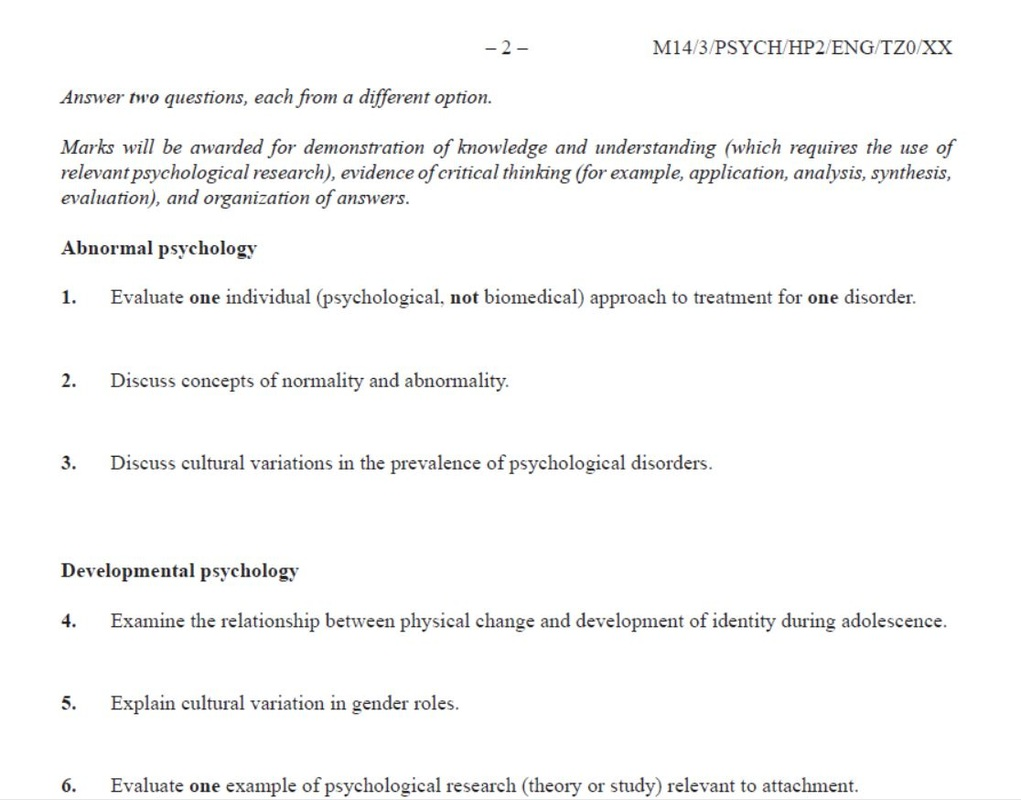 psychology test essay questions Many of them, just as writing the ap psychology essay might be a unique writing experience for you writing an effective essay response on the ap psychology test may require you to modify the way you usually answer an essay question these essays are graded in a very specific way, and your writing should take this.